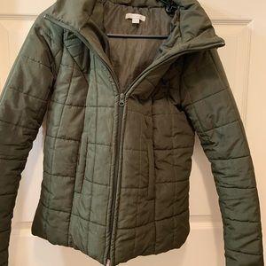 Olive green puffer coat